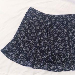 Silky Navy Blue Ditsy Floral Mini Skirt